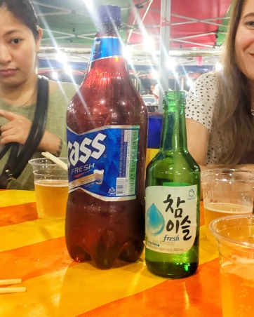 Beer and soju (you mix them together)